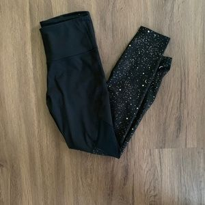 High Waisted Black Leggings with Metallic Stars